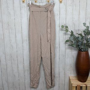 Lamarque Belted Flowy Tan Pants